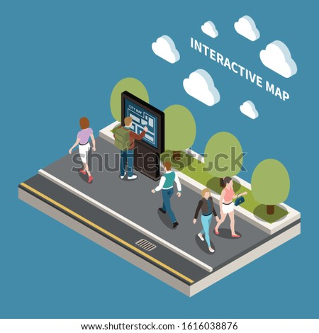People and interfaces design concept with resident looking at interactive map of city   isometric vector illustration