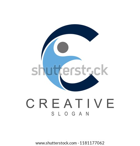 People and Letter C Health And Wellness Logo, Creative People Icon, Fitness Logo