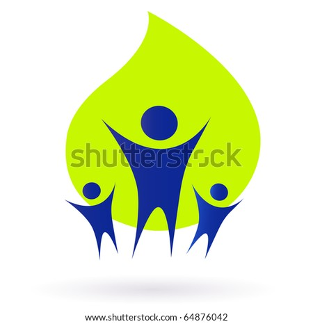 People and nature icon, adult and kids - green and blue. Vector Illustration.