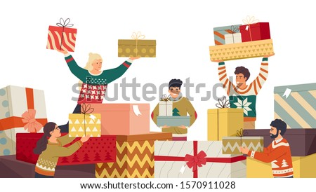 People and New Year gifts flat vector illustration. Family members preparing and receiving presents cartoon characters. Traditional winter holiday celebration. Secret Santa surprises unwrapping.