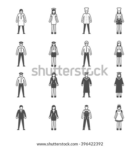 people and occupation icon set