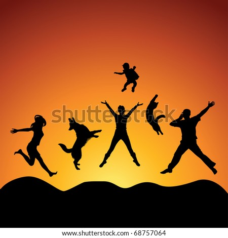 people and pets jumping over sunset, vector