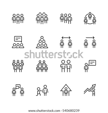 People and relations vector icon set in thin line style