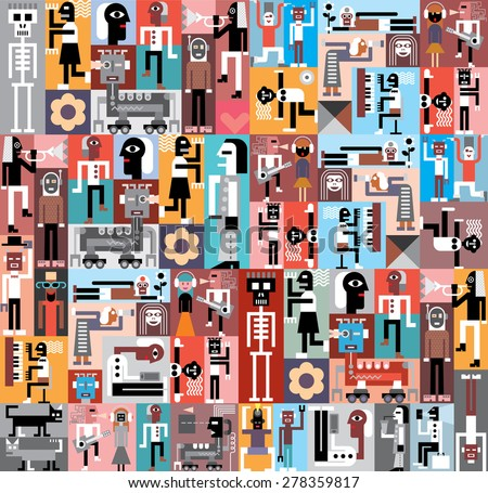 people and robots vector