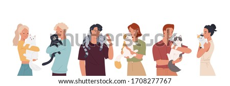 People and their cats isolated on white background. Set of portraits of adorable pet owners and cute domestic animals. Vector illustration in a flat style