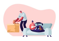 People and their Pets. Happy Cheerful Man Find Little Puppy in Cardboard Box, Taking him on Hands, Woman Sitting on Sofa at Home with Many Cats around. Love to Animals Cartoon Flat Vector Illustration