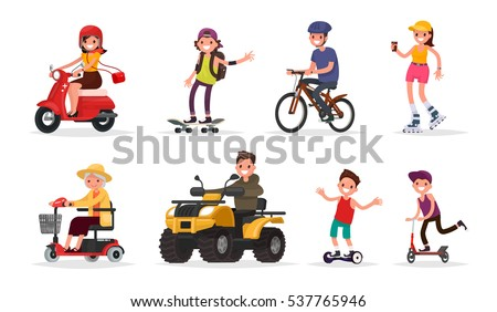 people and wheeled  vehicles