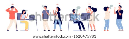 People angry with smokers. Bad habit, smokers and non-smoking people. Vector male female characters Stock foto ©