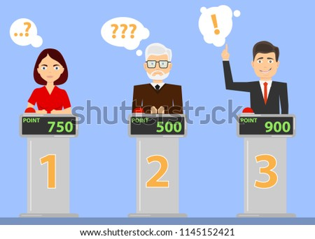 People answer quiz questions and click on the red button. People are thinking about the quiz question and are standing in their places. Flat design, vector illustration, vector.