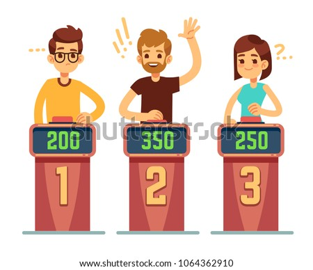 People answering questions and pressing buttons on quiz show. Conundrum game competition vector concept. Illustration of game competition, quiz intelligent
