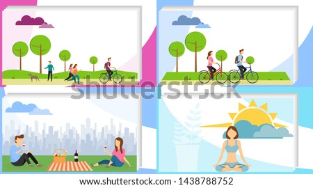 People are actively relaxing. People actively spend time in the park, relax, have a picnic, meditate. Vector illustration of the concept of outdoor activities.