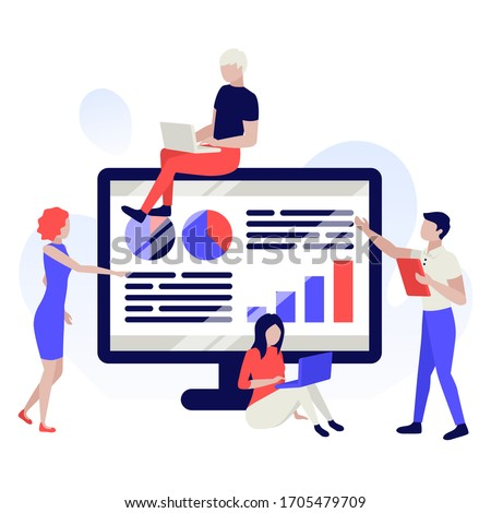 People are building a business project on the monitor screen. Analytics, information gathering, teamwork. Human characters on white background. Color vector illustration