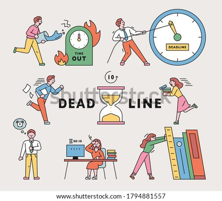 People are busy working because of time. flat design style minimal vector illustration.