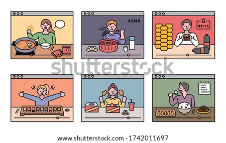 People are challenging to eat a lot through personal internet broadcasting. flat design style minimal vector illustration.
