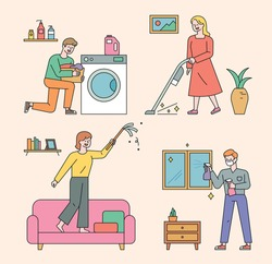 People are cleaning the house. The man who runs the washing machine. A woman running a vacuum cleaner. A woman blowing dust. The man to wipe the window. flat design style minimal vector illustration.
