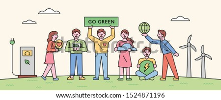 People are doing environmental protection campaigns. flat design style minimal vector illustration.
