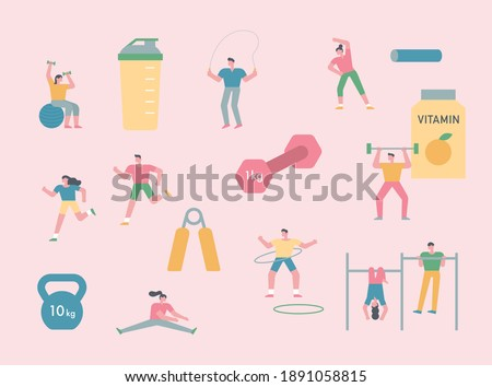 People are exercising. There are small and simple characters of people and exercise equipment. flat design style minimal vector illustration.