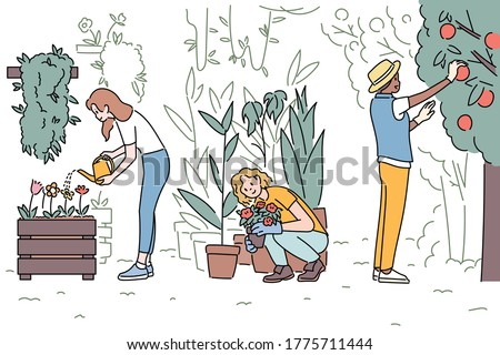 People are gardening and harvesting fruits. hand drawn style vector design illustrations.  Сток-фото ©