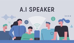 People are gathering around artificial intelligence speakers to experience new technologies. Ad Banner concept illustration. flat design vector graphic style.