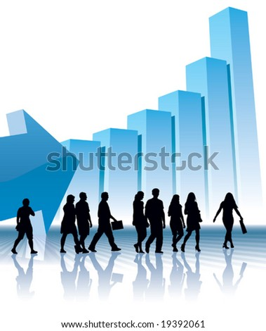 People are going to a large graph, conceptual business illustration.