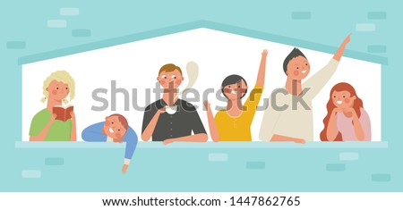 People are greeting through the windows. People leaning on the window. People who drink tea or read books at the window.  flat design style minimal vector illustration.