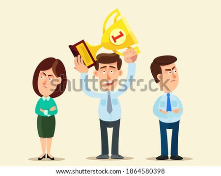 People are jealous of a successful businessman. Envious friends and colleagues. Competitors upset. Business vector illustration, flat design, cartoon style, isolated background. Stockfoto ©