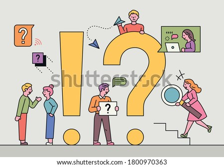 People are looking for answers around giant question marks and exclamation points. flat design style minimal vector illustration.