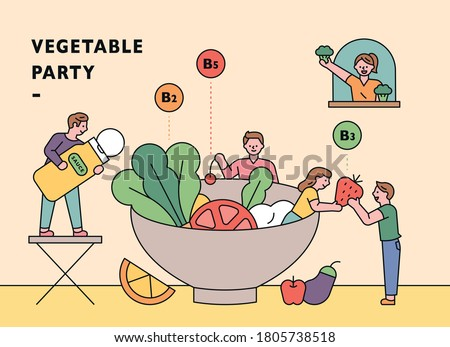 People are making salads in a large bowl. flat design style minimal vector illustration. Stock photo ©