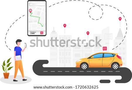 People are ordering online transportation. can be used for landing pages, templates, UI, web, mobile applications, posters, banners, leaflets Сток-фото ©