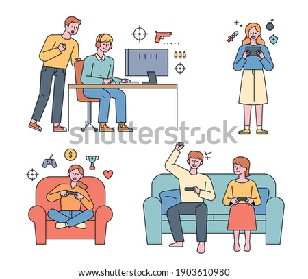 People are playing video games. Friends playing games on the computer, people playing mobile games, and sitting on the couch in battle.