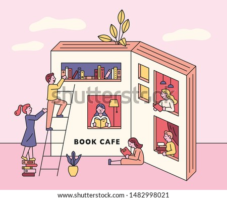 People are reading a book in a cafe shaped like a book. flat design style minimal vector illustration.