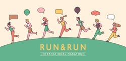People are running in line for a healthy lifestyle. Banner poster design composition. flat design style minimal vector illustration.