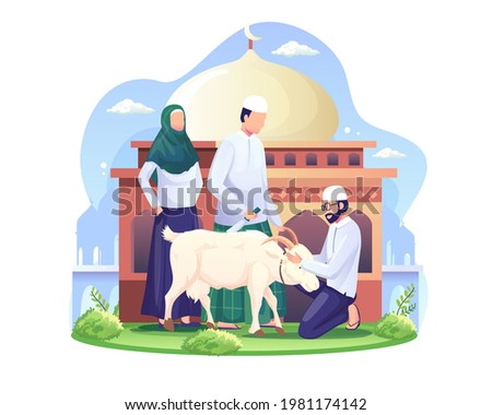 People are sacrificing goats or qurban on Eid al Adha. Happy Eid Al Adha Mubarak. Flat vector illustration