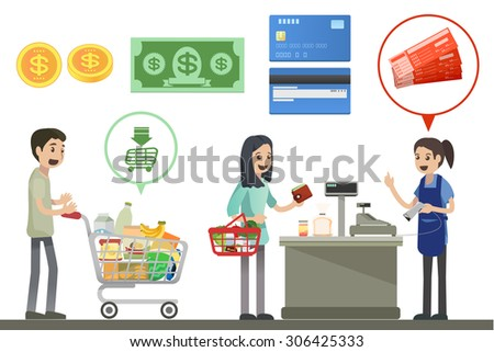 People are shopping in supermarkets - Vector Illustration, Graphic element Design