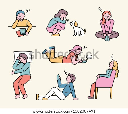 People are sitting and standing in various postures to worry. flat design style minimal vector illustration