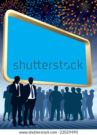 People are standing in front of a large blank billboard, fireworks in the background, conceptual business illustration.