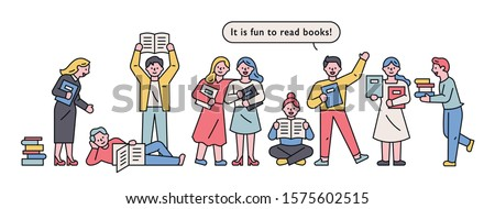 People are standing in line to read or promote books. flat design style minimal vector illustration. Foto stock ©
