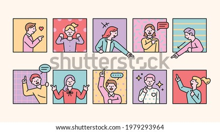 People are sticking out from the window and pointing their fingers at others. flat design style minimal vector illustration.