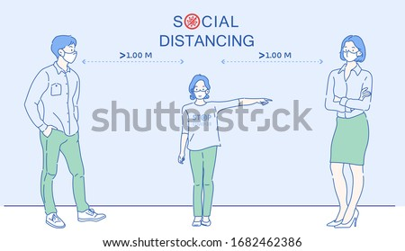 People are talk with each other at approximately 1 meter distance. Social distancing, keep distance in public society people to protect from COVID-19.The idea of stopping the spread of the virus.