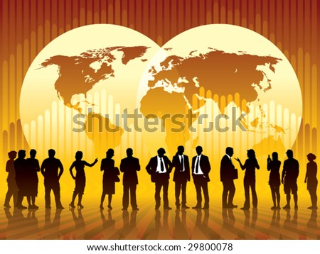 People are talking, world map and a graph in the background, conceptual business illustration. The base map is from Central Intelligence Agency Web site.
