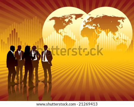People are talking, world map and graph in the background, conceptual business illustration.