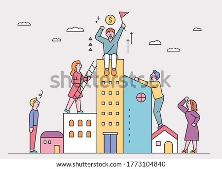 People are trying to climb onto a taller building. flat design style minimal vector illustration. Foto stock ©