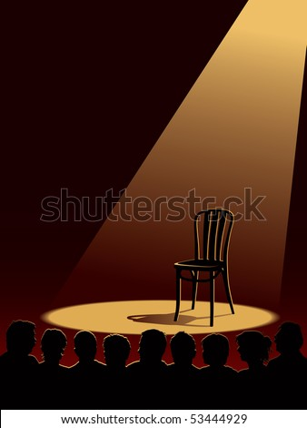 People are waiting for an actor, one empty chair on a stage.