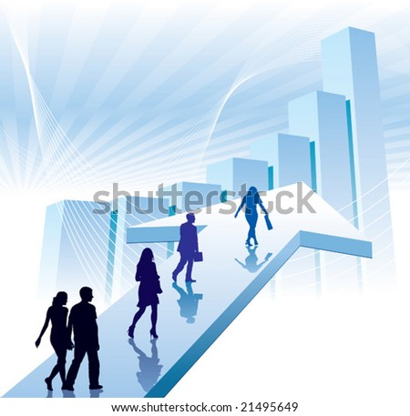 People are walking on a direction sign, conceptual business illustration.