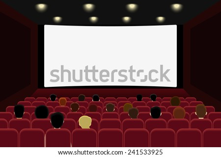 People are watching movie in the cinema or theater hall. Vector illustration of visiting cinema or theater to watch movie on the big screen. Screen blank with cory space for text