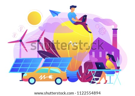 People around huge lamp analyzing power data. Renewable energy, power saving, smart grid energy, system modelling, IoT and smart city concept, violet palette. Vector illustration on white background.