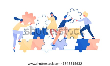 People assembling giant jigsaw puzzle together. Concept of teamwork and employee cooperation. Colleagues support and help. Team challenge. Flat vector cartoon illustration isolated on white