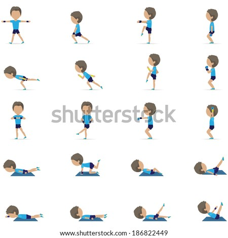 People At Aerobics Class Isolated On White Background Vector Illustration Graphic Design Editable For Your Design