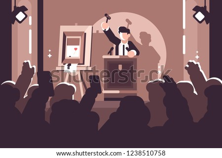 People at auction of art flat poster. Auction process with man holding gavel behind special stand near picture and human raised hands and bidding in front of him vector illustration