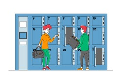 People at Baggage Storage. Male and Female Characters Use Luggage Keeping Service Put Bags into Paid Numbered Lockers, Metal Boxes in Airport, Bank, Gym or Supermarket. Linear Vector Illustration